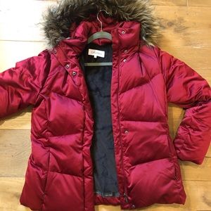 Red Calvin Klein winter coat.